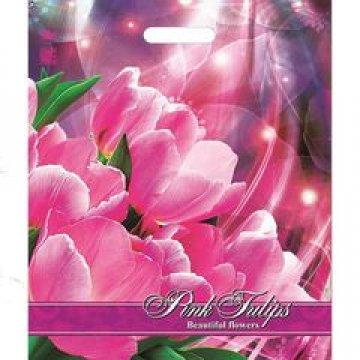 Пакет проруб. 38х45 см, ПВД, Розовые тюльпаны ламинированный 60 мкм 50шт/уп 500 шт/кор