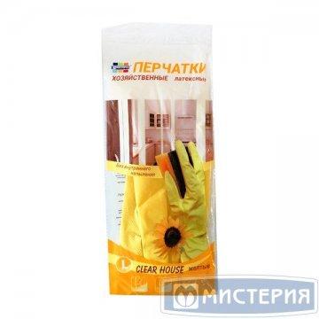 Перчатки хозяйственные латексные CLEAR HOUSE размер L 1 пар/упак 240 пар/кор