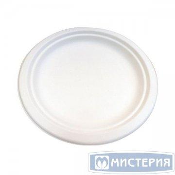 Тарелка кругл., d 225мм, h 18мм, бел., сахарный тростник 50 шт/упак. 10 упак/кор.