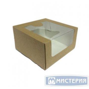 Коробка Pasticciere 180х180х100мм КТ 100 (с окном), крафт 120 шт./уп. 120 шт./кор.