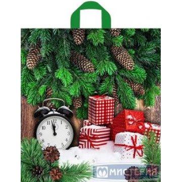 Пакет (мешок) петля 40x44см  ПНД Ретро- часы, 43 мкм 50 шт/уп 300 шт./кор.