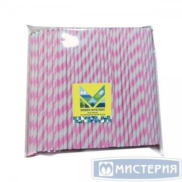 Трубочки бумажные Жвачка, полоска, цвет розово-белый, d=6мм L = 195мм 250 шт/уп 20 уп/кор
