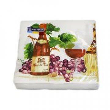 Салфетки  33х33, 2 сл. Вино и виноград, бум. с многоцветным рисунком 20 шт/ уп. 15 уп/кор