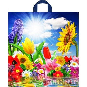 Пакет петля ПНД 42х38см, 37мкм, Море цветов 50 шт/уп 300 шт/кор