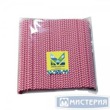 Трубочки бумажные Красный зигзаг, цвет красно-белый, d=6мм L = 195мм 250 шт/уп 20 уп/кор