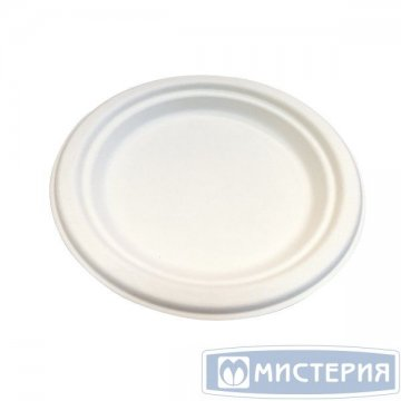 Тарелка кругл., d 172мм, h 17мм, бел., сахарный тростник 50 шт/упак. 20 упак/кор.