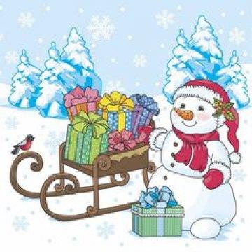 Салфетки 25х25см, 1 сл.,  Снеговик с подарками, бумага,  40 шт./уп. 105 уп/кор