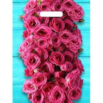 Мешки (пакеты) с вырубной ручкой 31х40 (60) Тико ламинация Дачные розы (0,050/0,500)