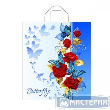 Пакет (мешок) петля ПНД 42х38см, 37мкм, Синие бабочки 50 шт/уп 300 шт/кор