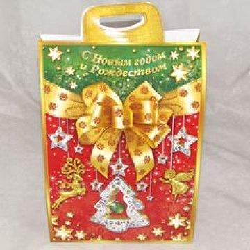 Пакет картонный Новогодний Бант (красный) 0,2 кг 80 шт./уп