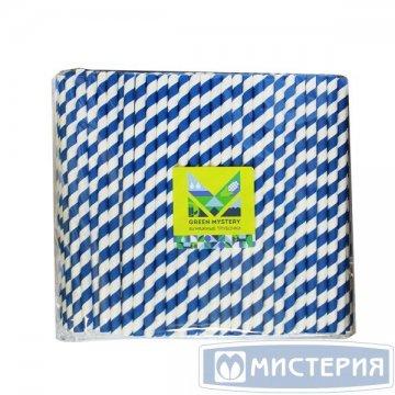 Трубочки бумажные Прибой, полоска, цвет сине-белый, d=8мм L = 195мм 250 штук/упак 20 упак/кор