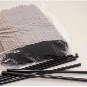 Трубочка полимерная для напитков 8х240мм. Черная (1уп.-500шт.) (1/10)