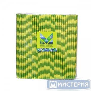 Трубочки бумажные с изгибом Бамбук, полоска, цвет зелено-желтый,d=6мм L=195мм 250 шт/уп 20 уп/кор