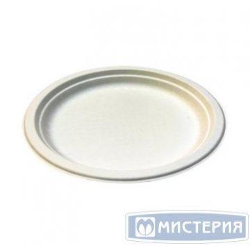 Тарелка кругл., d 225мм, h 18мм, бел., сахарный тростник 50шт/упак 20 уп/кор