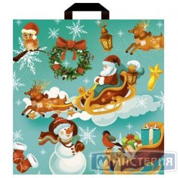 Пакет (мешок) петля ПВД 44х44см, 60мкм, Новогодние сани 25  шт/уп 500 шт./кор