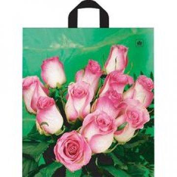 Пакет петля  40х43 см ПНД ф/п Розовые розы 50 шт/уп 500 шт/кор