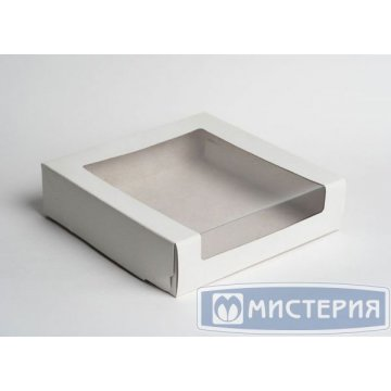 Коробка Pasticciere 180х180х100мм КТ 100 (с окном), белый 120 шт./уп. 120 шт./кор
