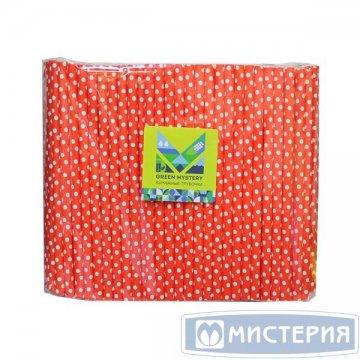 Трубочки бумажные Мелкий горошек, цвет красно-белый, d=8мм L = 195мм 250 штук/уп 20 упак/кор
