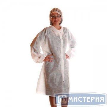 Халат неткан. материал СМС 30 г/м2  бел. (5шт/уп) размер 48-50 5 шт/уп 10 уп/кор