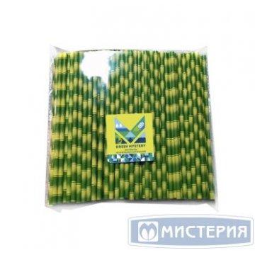 Трубочки бумажные Бамбук, полоска, цвет зелено-желтый, d=6мм L = 195мм 250 шт/уп 20 уп/кор