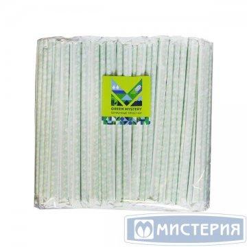Трубочки бумажные Квадрат, цвет зелено-желто-белый,d=6мм L=195мм,инд. бумажн. уп. 250 шт/уп 20уп/кор