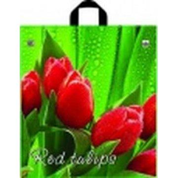 Пакет петля  40х43 см ПНД ф/п Красные тюльпаны 50 шт/уп 500 шт/кор