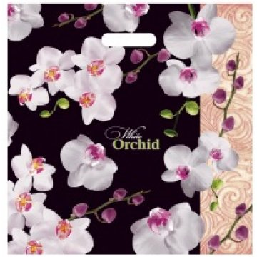 Пакет (мешок) проруб. ПВД 44х44см, 60мкм, Белая орхидея лам. 25шт/уп 500шт./кор.