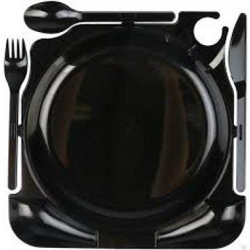 Тарелка- Комбо (вилка + нож + ложка) 250*250*20мм, чёрн. 40шт./упак. 1уп /кор