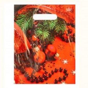 Мешки (пакеты) с вырубной неусил ручкой 20х30 (30) Красные бусы (3,0/0,1)