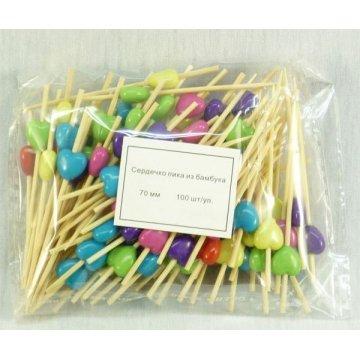 Пика бамбук Сердечко цветные 7см, 1упх100шт(х100)