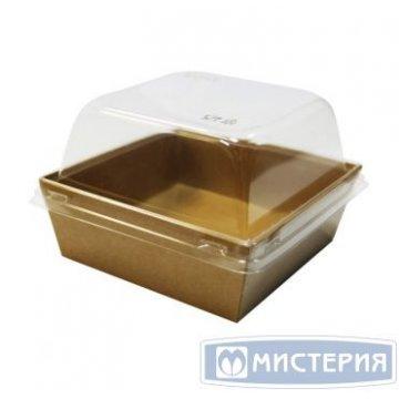 Коробка DoEcoвнеш.128х128х45мм,внутр.114х114х40мм ECO PRIZMA 550,картон,корич,пластик.крыш.250шт/к