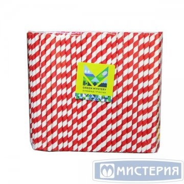 Трубочки бумажные Леденец, полоска, цвет красно-белый, d=8мм L = 195мм 250 штук/упак 20 упак/кор