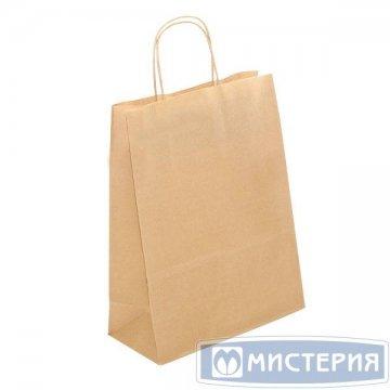 Пакеты(сумка) (250+110)х320мм  коричн.,78г/м2, крафт бум. с кручеными ручками 300 шт/уп 300 шт/кор