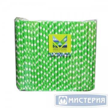 Трубочки бумажные Крупный горошек, цвет зелено-белый, d=8мм L = 195мм 250 шт/упак 20 упак/кор