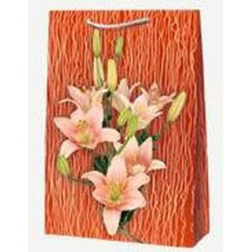 Пакет ламин. Розовая лилия  /Герберы 25х35х 9см, бум. 10шт/уп 100 шт/кор
