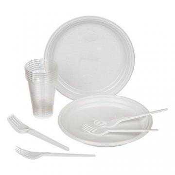 Набор Пикник (тарелка д205 - 6 шт., стакан 200 мл - 6 шт., вилка столовая - 6 шт.)