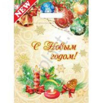 Мешки (пакеты) с вырубной неусил ручкой 20х30 (30) Новогодние свечи (100/3000)