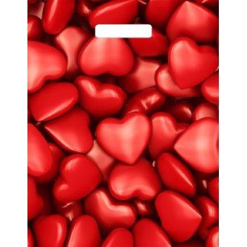 Мешки (пакеты) с вырубной ручкой 31х40+6 (60) Тико глянец Сердечки (0,050/0,500)