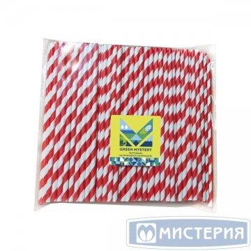 Трубочки бумажные Леденец, полоска, цвет красно-белый, d=6мм L = 195мм 250 шт/уп 20 уп/кор