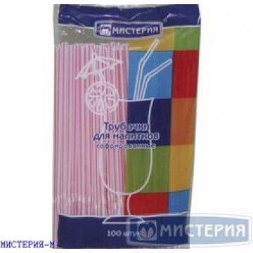 Трубочка полимерная д/напитков гофрированная 5*210 (1кор/48уп/250шт) ассорти