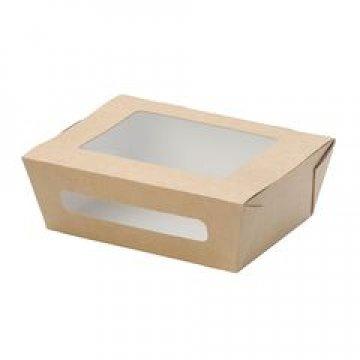 Коробка DoEco 150х115х50мм ECO SALAD 600, с окном, коричн. (Салатник) 350 шт./уп. 350 шт./кор