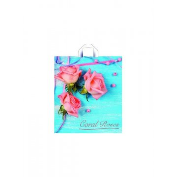 Пакет (мешок)  петля ПНД 42х38см, 37мкм, Коралловые розы 50 шт/уп 300 шт./кор