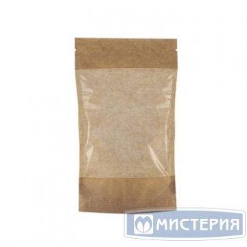 Пакет бумажный Дой-пак135х225+(35+35)мм,КРАФТ, с ЗИП замком,большое окно 50 шт /уп 500 шт /кор