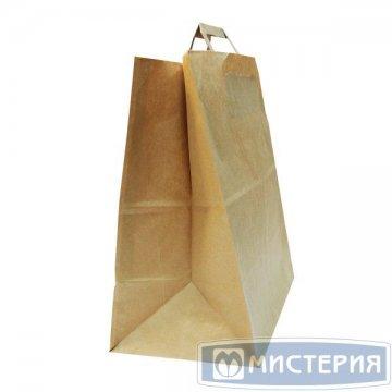 Пакеты (320+200)х370мм  коричн.,70г/м2, крафт бум. с плоской ручкой 200 шт./уп. 200 шт/кор