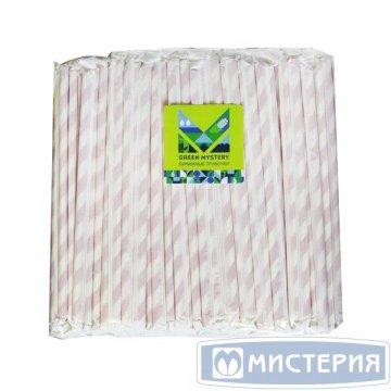 Трубочки бумажные Леденец,полоска,цвет красно-белый,d=6мм L=195мм,инд.бумаж.уп.250шт/уп  20уп/кор