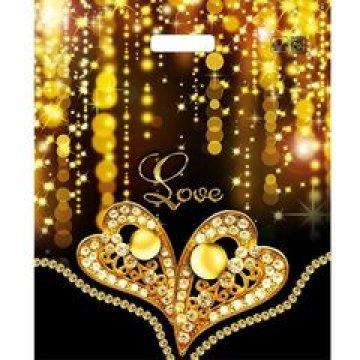 Пакет проруб. 38х45см, ПВД, Золотое сердце ламинированный 60мкм  50 шт./уп.  500 шт./кор
