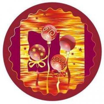 Тарелка  d=230 мм дизайн Новогодние шары на бордовом 10шт/уп 35уп/кор