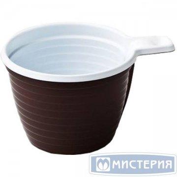 182360/ Чашка хол/гор, 0.18л, коричн/бел., ПП  6шт/уп