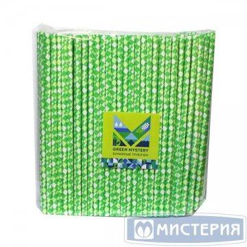 Трубочки бумажные Квадрат, цвет зелено-желто-белый, d=6мм L = 195мм 250 шт/уп 20 уп/кор