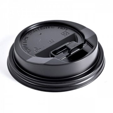 Крышка с питейником 90 мм КД-202 черная (1200шт/кор)